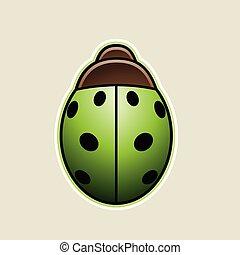 coccinella, illustrazione, vettore, verde, cartone animato, icona