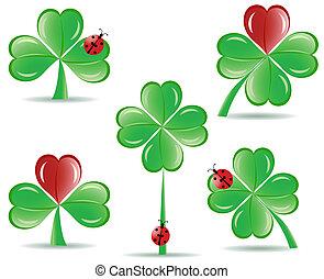 coccinella, set, foglie, fortunato, illustrazione, isolato, quattro, fondo., tema, vettore, shamrocks, bianco, st., giorno, patrick's