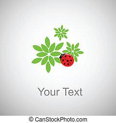 coccinella, su, fogliame verde
