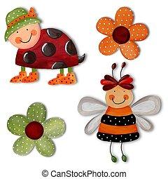 coccinelle, abeille, et, flowers., typon