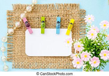 coccinelle, coloré, bois, étiquette papier, vide, blanc, brides