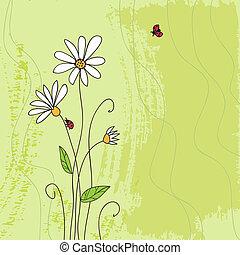 coccinelle, fleur, grunge, arrière-plan vert, camomille,...