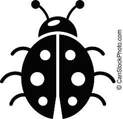 Coccinelle Symbole coccinelle, eps10, simple, symbole, noir, animal, icône.
