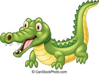 coccodrillo, adorabile, cartone animato
