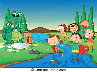 coccodrillo, bambini, picnic