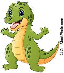 coccodrillo, cartone animato, felice