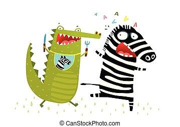 coccodrillo, divertente, corsa, inseguire, zebra