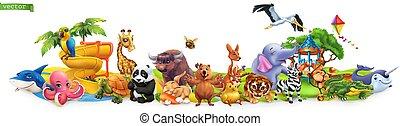 coccodrillo, elefante, tartaruga, 3d, quokka, vettore, canguro, 50mb, squalo, alto, zebra, qualità, pappagallo, divertente, cicogna, panda., giraffa, panorama., eps, coniglio, animals.