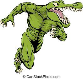 coccodrillo, o, alligatore, mascotte, correndo