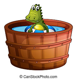 coccodrillo, vasca bagno, nuoto