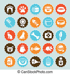 coccolare, adesivi, set, ico, vettore