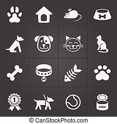 coccolare, carino, vettore, black., icone