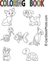coccolare, cartone animato, libro, coloritura
