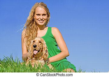 coccolare, donna, cane