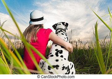 coccolare, donna, giovane, lei, cane
