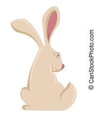coccolare, lepre, cartone animato, vettore, coniglio, coniglietto, pasqua, o, icona
