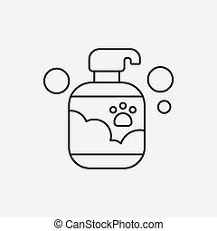 coccolare, linea, shampoo, icona