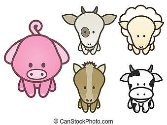 coccolare, set, illustrazione, animals.