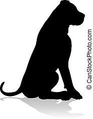 coccolare, silhouette, cane, animale