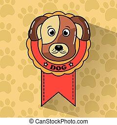 coccolare, vincitore, medaglia, cane, premio