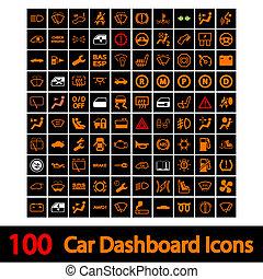 coche, 100, tablero de instrumentos, icons.