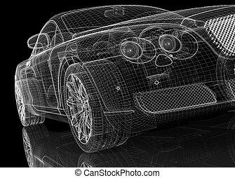 coche, 3d, modelo