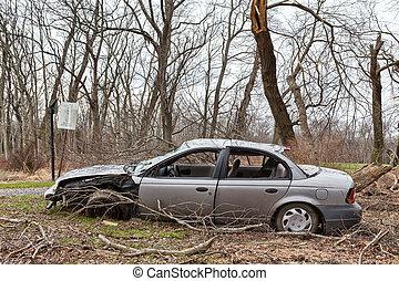 coche, abandonado, destrozar