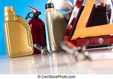 coche, accesorios, en, vívido, moto, concepto