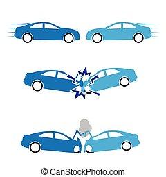 coche, accidentes, choque