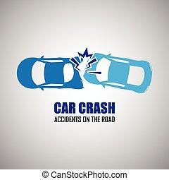 coche, accidentes, choque, iconos