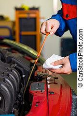 coche, aceite, medido, presión