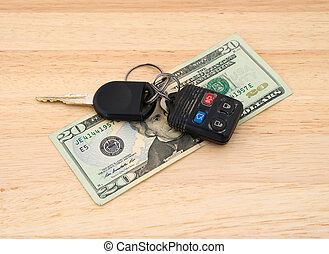 coche adapta, encima de, dinero
