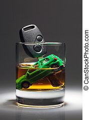 coche adapta, y, vidrio, con, alcohol