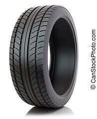 coche, aislado, neumático