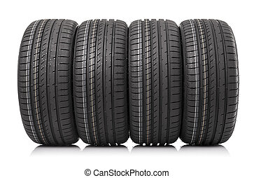 coche, aislado, neumáticos, fondo., nuevo, blanco