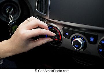 coche, ajuste, mujer, temperatura, acondicionador