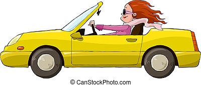 coche, amarillo