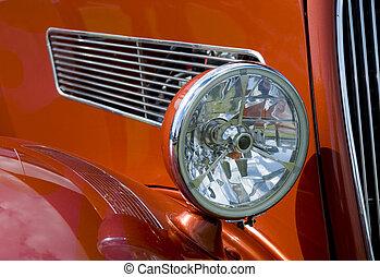 coche antiguo, faro
