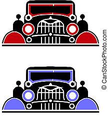 coche, antiguo, ilustración