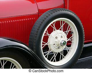 coche antiguo, rueda