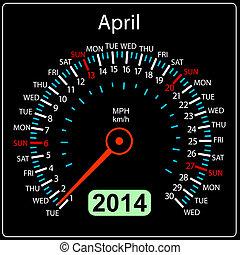 coche, april., vector., año, 2014, calendario, velocímetro