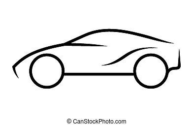 coche, arte de línea