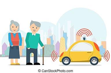 coche, autónomo, pareja, anciano