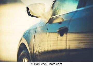 coche, automático, limpieza, lavado