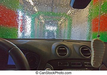coche, automático, wash.