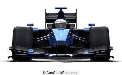 coche azul, carrera, -, negro