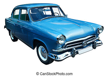 coche azul, clásico, retro, aislado