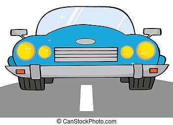coche azul, convertible, camino