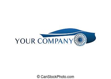 coche azul, logotipo