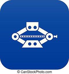 coche azul, scissor, gato, digital, rojo, icono